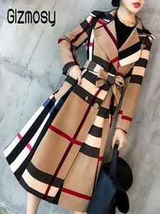 Новые женщины моды Элегантный Комфортный отдых Простые цвета Длинные Осень Зима Ветровка Trench Coat Paid Плюс Размер CA6749