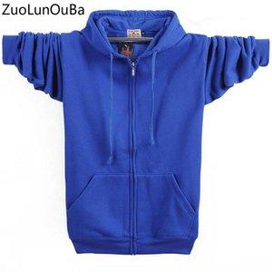 ZuoLunOuBa Frühling Herbst neue Blau Hoodies Männer M-4xl Super Size Strickjacke lose Langarm-Hip Hop-Sweatshirt Männer Mantel