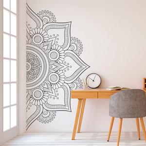 Половина Mandala Наклейка Наклейка для спальни Современный дизайн шаблон Виниловые Art самоклеющиеся наклейки стены Главная Room Decor D264 Y200102