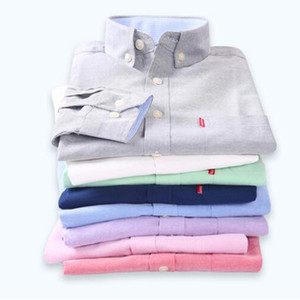 Pure Cotton Oxford Breathable Comfortable Single Breasted Shirts Camisa,Solid Candy Color Base Shirts Cloth Spring Autumn