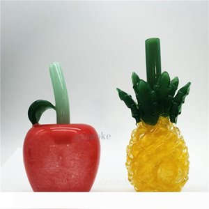 Colorful Cute pineapple smoking water pipes Heady apple pipe glass hand pipe pyrex spoon bubbler funny wax somking accessories gift red