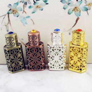 3 ml Antiqued Metal Garrafa de Perfume Estilo Árabe Liga Oco out Garrafa de Óleos Essenciais Oriente Médio Vidro Conta-gotas Garrafa