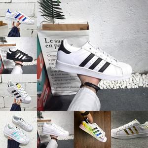 بيع النجوم الرجال أحذية رخيصة الأسود الذهب الأبيض أوريو قوس قزح الهولوغرام أصول جديد أحذية 80S الكبرياء أحذية رياضية سوبر ستار النساء الرجال المشي