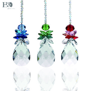 "H&D Garland Chakra Spectra ""Hope Faith Love"" 3pcs Crystal Suncatcher Rainbow Maker Angel Prisms Pendants Hanging Drop Home Decor"
