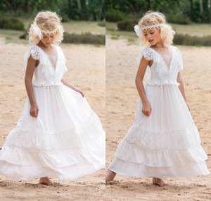 Bohemian Flower Girl Dresses for Wedding Lace A Line Chic Little Girls Wedding Dresses Cheap Kids Pageant Gowns
