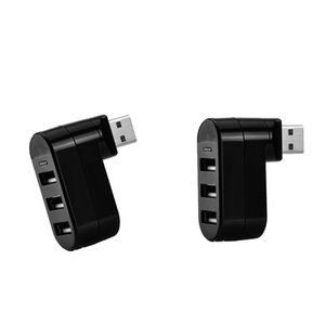 2x 3-Port USB 2.0 180 Degree Rotatable Hub Splitter Adapter- Black