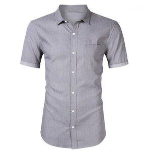 Lapel Neck Slim Fit Solid Color Male Shirt Designer Apparel Mens Short Sleeve Denim Shirt Casual