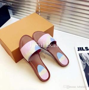 20202020 Sandalias de marca de diseñador Sandalias de mujer de moda para mujer CON CAJA Flor de lujo impresa Tie-dye unisex flip flop de playa