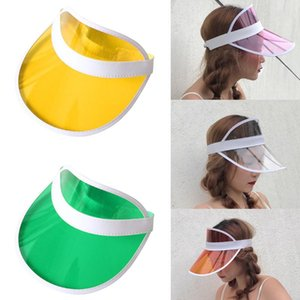 Summer Women's Sun Hat Candy Color Transparent Empty Top Plastic Sunshade Hat Visor Caps Vacation Beach Sun Female Ladies