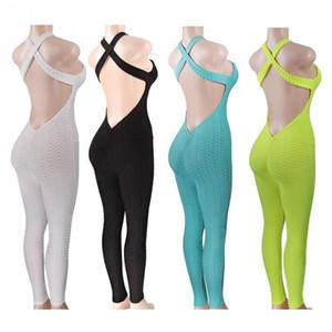 Set da Yoga Abbigliamento Fitness Un pezzo di tuta sportiva da donna Set palestra allenamento tuta fitness pantaloni sexy set yoga palestra tuta q190521