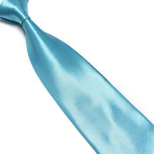 HOOYI 2018 düz renk erkek iş adam için bağları kopya ipek polyester kravat Turkuaz mavi
