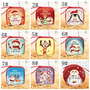 Monedero de Navidad regalo de la moneda del monedero de la Plaza Redonda mini dibujo animado de Navidad bolsa de almacenamiento caja para el auricular Clave Dulces de Navidad Decoración XD22384