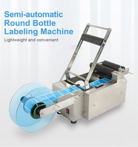 MT-50 120W Semi-automatic Round Bottle Labeling Machine Medicine Catering Plastic Glass Metal Bottle Stainless Steel Labeler