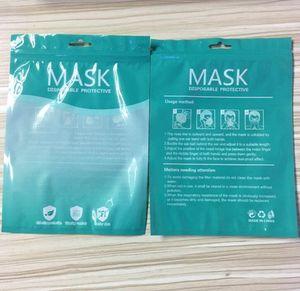 stok Maske Ambalaj Çanta içinde Fermuar Opp Çanta Perakende maskeler Bags İngilizce Saydam Plastik Kilitli Poşet Ambalaj GGA3448-4