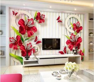 3d duvar kağıdı özel fotoğraf duvar Yeni güzel üç boyutlu takı çiçek TV arka plan duvar ev dekor duvar sanatı resimleri