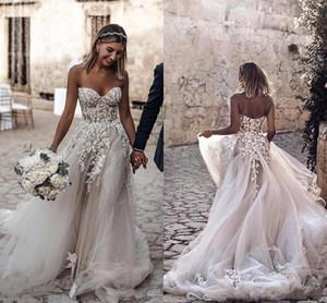 2019 Simple Design Plus Size Paese Stile 3D Appliques floreali A-Line Abiti da sposa Bohemian Abiti da sposa per le spose robe de mariée BC2024