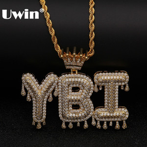Uwin Crown Initial Letter Collana con pendente Customzie Bubble Initial Letters Oro Argento Rose Gold Colore Words Nome Oem Link J190713