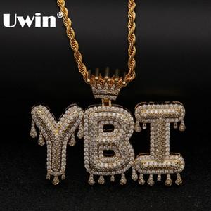 Uwin Crown Начальная буква Ожерелье Customzie Bubble Начальные буквы Золото Серебро Розовое золото Цвет Слова Имя Oem Link J190713