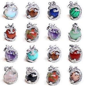 Luckyshine Mix 12 Adet / grup Klasik Doğal El Yapımı Dragon Ball Kolye Aytaşı Opal Taş Gümüş Kolye Kolye Tatil Hediyeler için