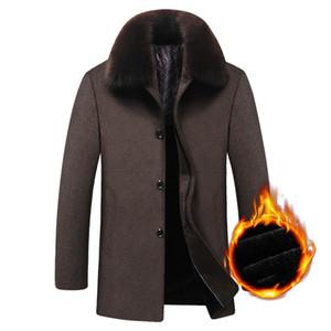 Langer Mantel Winter Woolen Men Fleece Dicke abnehmbare große Pelzkragen Wollmantel Herbst Windbreaker Freizeitjacke Herrenbekleidung