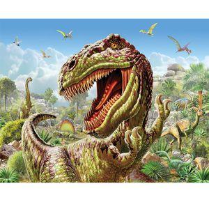 Rétro Dinosaur 5D diamant rond strass broderie peinture dinosaure animal bricolage Kit point de croix Mosaïque Dessiner Décoration intérieure Art Artisanat