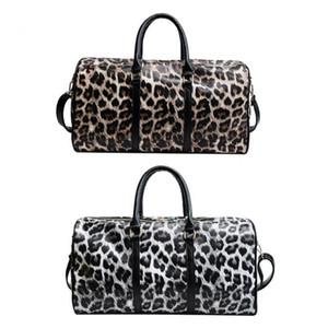 Mujeres hombro de la honda del bolso de Crossbody de gran capacidad leopardo bolsas de viaje de cuero de la PU fin de semana Mujer Bolsos de tela