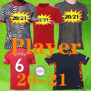 OYUNCU VERSİYONU 2020 2021 Manchester Ana kırmızı futbol formaları 2020 2021 MAN Oyuncu uzakta Pogba RASHFORD MATİC FUTBOL UTD Gömlek S-XXL