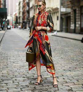 2019 solapa de la moda de las mujeres de seda de satén de impresión camisa de manga larga vestidos de mujeres europeas africanas Dresse Sexy camisa larga con Faja