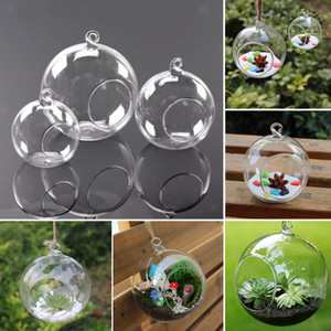 3Size Clear Glass Vases Ball Flower Hanging Transparent Vase Planter Terrarium Container Glass Home Decor
