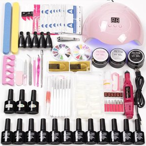Strumenti per nail art 15/18/36 PCS LED Lampada da UV Asciugatrice 12 Colore Gel Polish Builder Gel Polish Nail Estensioni Set Kit per unghie acrilico