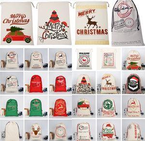 sacs de Noël grande toile Monogrammable Père Noël Sac à cordonnet avec Reindeers Cadeaux de Noël Sac de rangement Sacs de Noël Décorations