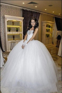 Sparkling Beaded Crystal Sweetheart Una línea de vestidos de novia con pliegues dubai Custom MAde SAsh Beaded Wedding Dresses Custom MAde