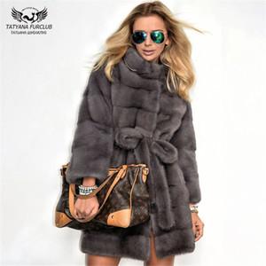 스탠드 칼라 중간 슬림 겨울 진짜 모피 코트 여성 플러스 사이즈 의류와 일러스트 Tatyana Furclub 2019 새로운 패션 어두운 회색 밍크 코트