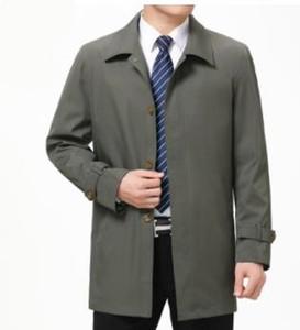 Mens Negócios Designer Trench Coats lapela Neck Autumn manga comprida Casacos Casual meia idade e casacos Elder