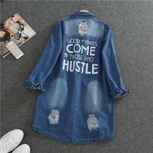 Fashion-New Big Size Korean Women Holes BF Jeans Jackets 2017 Spring Autumn Denim Middle Long Loose Coat Ripped For Women Clothing 1172