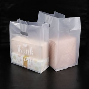 50pcs Thank You Plastic Gift Bag Cloth Storage Shopping Bag with Handle Party Wedding Plastic Candy Cake Wrapping Bags