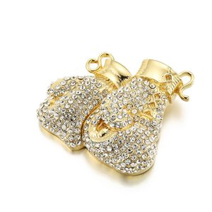 wholesale Big Boxing Gloves Paved Shining Crystal Gold Silver Pendant With Long Ice Out Chain Necklace Hip Hop Jewelry For Men