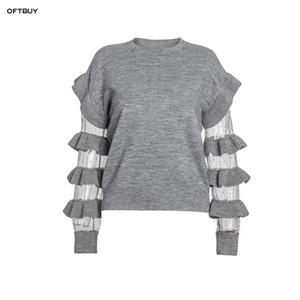 OFTBUY 2019 frühling Lässig gestrickte pullover frauen pullover Rüschen mesh punkt stickerei patchwork crop pullover koreanische streetwear