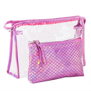 New fish scales laser set women's PVC cosmetic bag Two-piece waterproof travel wash bag storage bag