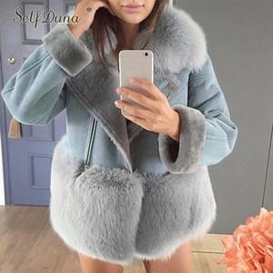 Осень Зима замша норки Лоскутная Turn Down Collor Теплый Толстые Vintage искусственного меха Пальто женские Outwears