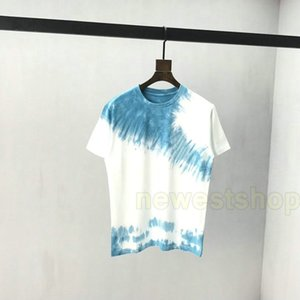 2020 новой весна лето Европы мужских Tie Dye печати тенниска способ письмо печать футболка дизайнер майка Мужчины Женщина с коротким рукавом хлопок тройника