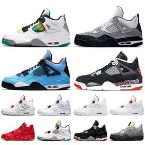 Nike Air Retro Jordan 4 AirrétroJordan 4 4s Hommes Chaussures de basket-ball Singles Day Travis Scotts Black Cat Carnival Top qualité Stock x entraîneurs des hommes Sneakers