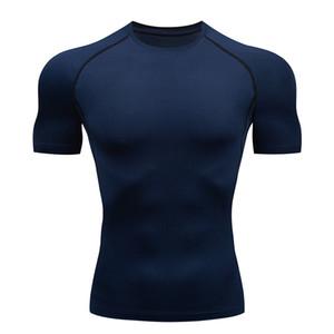бег Quick Dry Спорт Shirt Man Бег Фитнес Tight футболки с коротким рукавом Топы Тис Sportswear Compression Gym рубашка XXXXL