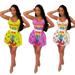 Kadın ropmers 2 parça elbise tasarımcı yaz giyim kolsuz backless bodycon bikini bodysuit pileli etek moda yeni varış 940