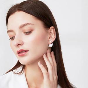 S925 Pure Silver Pink Star Earrings female Saturn earrings earrings new trend couple gift asymmetry temperament goddess free shipping