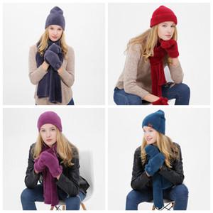 가을과 겨울 야외 따뜻한 비니 모자 스키 스포츠 방풍 모자 편물 모자 스카프 터치 스크린 장갑 세 조각 한 벌 선물 ZZA913