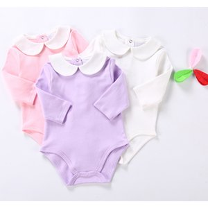 Cute Newborn Baby Clothing Long Sleeves Cotton Solid Baby Bodysuit Peter Pan Collar Baby Girls Clothes Jumpsuit Infant Costumes