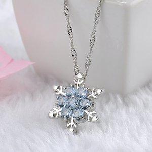 Kadınlar Ücretsiz Nakliye için Charm Vintage bayan Mavi Kristal kar tanesi Zirkon Çiçek Gümüş Kolyeler Takı Noel