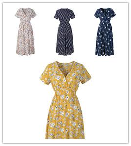 Женщины Цветочные Dot Печать с коротким рукавом V-образным вырезом богемское платье дамы лето пляж платья ретро юбки партии ужин Ткань S-2XL 2020 Новый LY303