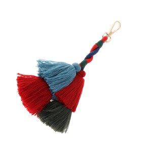 Hand Made Multicolor Bohemian Pom Pom Tassel Bag Charm Keychain
